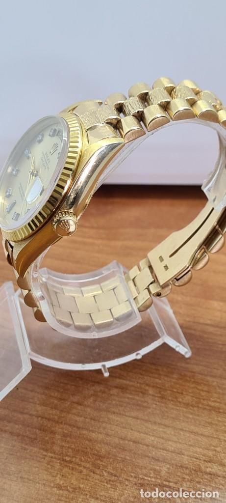 Relojes - Rolex: Reloj caballero ROLEX. DAY- DATE de oro 18K (0750) con correa de oro, esfera champan con brillantes. - Foto 22 - 279379298