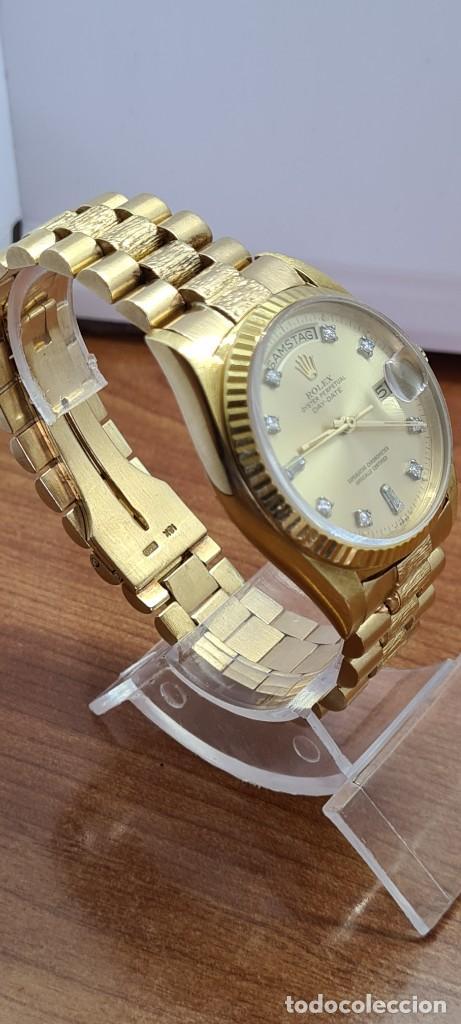 Relojes - Rolex: Reloj caballero ROLEX. DAY- DATE de oro 18K (0750) con correa de oro, esfera champan con brillantes. - Foto 23 - 279379298