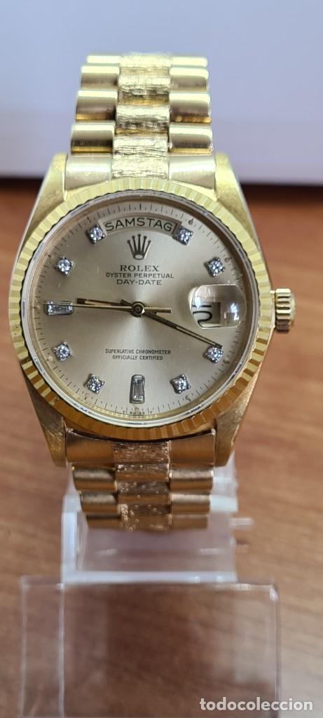 RELOJ CABALLERO ROLEX. DAY- DATE DE ORO 18K (0750) CON CORREA DE ORO, ESFERA CHAMPAN CON BRILLANTES. (Relojes - Relojes Actuales - Rolex)