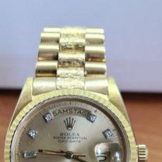 Relojes - Rolex: RELOJ CABALLERO ROLEX. DAY- DATE DE ORO 18K (0750) CON CORREA DE ORO, ESFERA CHAMPAN CON BRILLANTES.. Lote 279379298