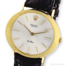 Relojes - Rolex: ROLEX CELLINI RELOJ DE ORO DE SEÑORA DE LEY 18K CON PULSERA DE CUERO. Lote 284755693