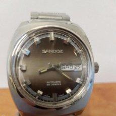 Relojes - Sandox: RELOJ DE CABALLERO (VINTAGE) AUTOMÁTICO MARCA SANDOZ 25 RUBIS, DOBLE CALENDARIO Y CORREA DE ACERO. Lote 61085783