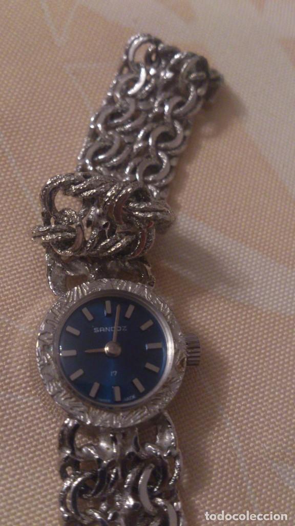 Relojes - Sandox: reloj señora sandoz swiss made,pulsera de metal,esfera azul.base de stainless.358v47 - Foto 4 - 65977678