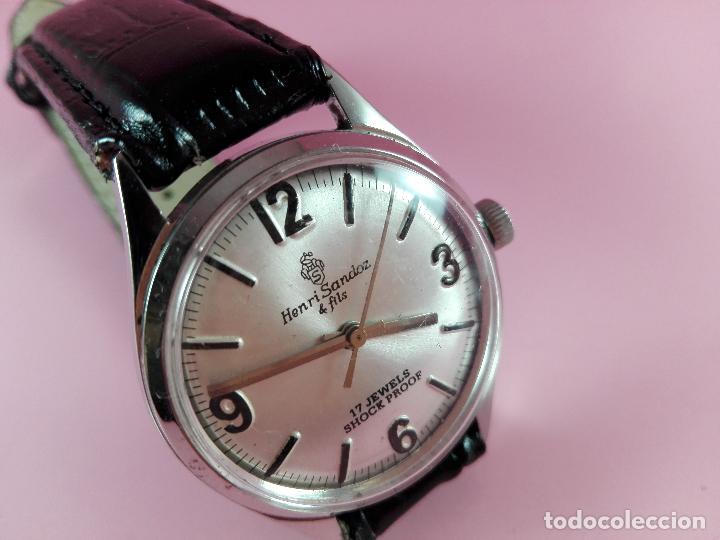 Relojes - Sandox: reloj-henri sandoz & fils-Manual-buen estado-correa piel-color a definir-antiguo-Viene de joyería ma - Foto 11 - 118360835
