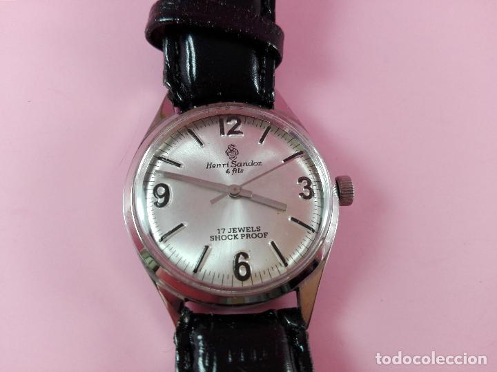 Relojes - Sandox: reloj-henri sandoz & fils-Manual-buen estado-correa piel-color a definir-antiguo-Viene de joyería ma - Foto 10 - 118360835