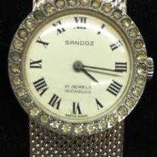 Relojes - Sandox: RELOJ SANDOZ CARGA MANUAL VINTAGE CON CORONA DE PIEDRAS ENGASTADAS PARA COLECCIONISTAS. Lote 129462460