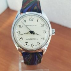 Relojes - Sandox: RELOJ UNISEX (VINTAGE) DE ACERO SANDOZ DE CUERDA MANUAL CON ESFERA BLANCA Y CORREA DE CUERO BICOLOR. Lote 133295558