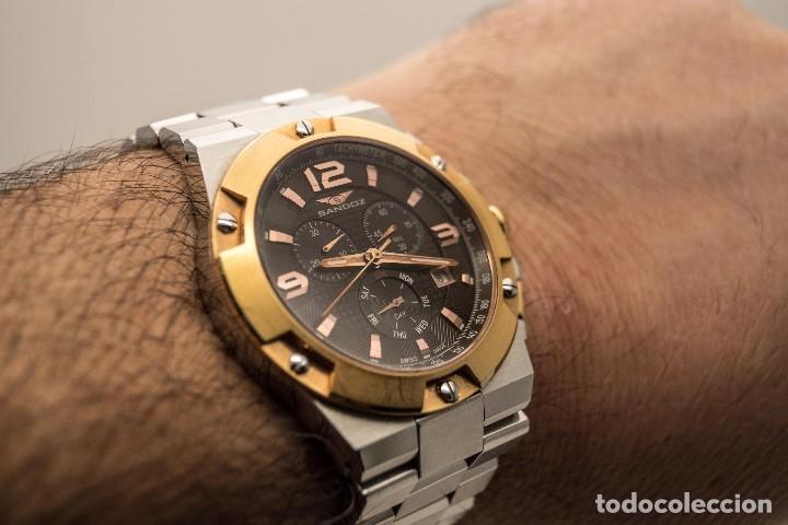 Relojes - Sandox: ESPECTACULAR CRONOGRAFO SANDOZ ACERO Y ORO - Foto 11 - 182962236