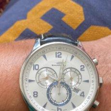 Relojes - Sandox: RELOJ SANDOZ CRONÓGRAFO CUARZO ESFERA GRANDE 45 CM CONTANDO CORONA . CRISTAL SAFIRE . FUNCIONA. VER. Lote 214182782