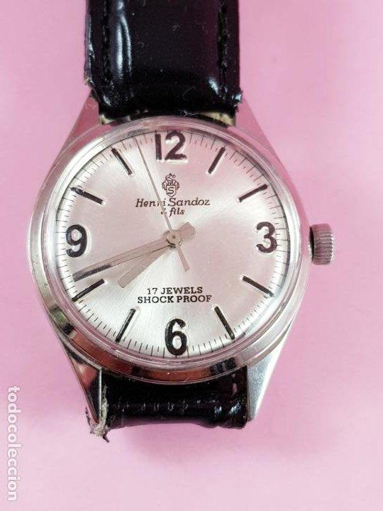Relojes - Sandox: reloj-henri sandoz & fils-Manual-buen estado-correa piel-color a definir-antiguo-Viene de joyería ma - Foto 2 - 118360835