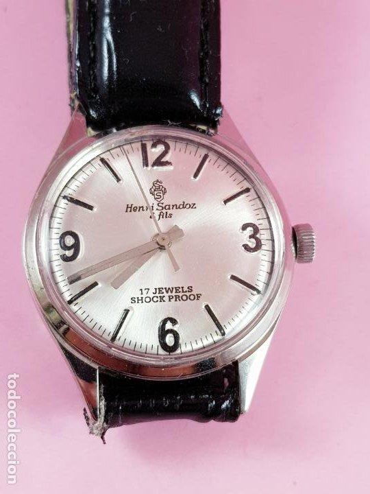 RELOJ-HENRI SANDOZ & FILS-MANUAL-BUEN ESTADO-CORREA PIEL-COLOR A DEFINIR-ANTIGUO-VIENE DE JOYERÍA MA (Relojes - Relojes Actuales - Sandoz)