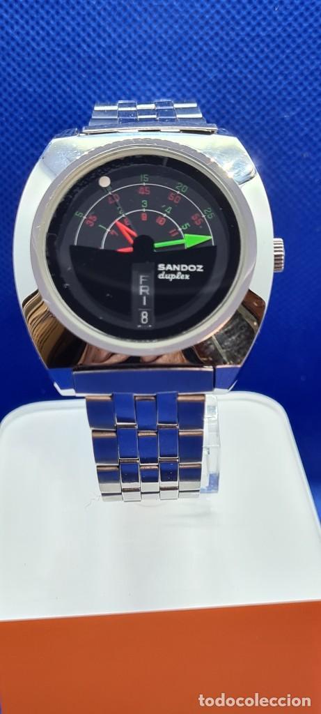 RELOJ CABALLERO (VINTAGE) SANDOZ. DÚPLEX AUTOMÁTICO MUY RARO EN ACERO CON DOBLE CALENDARIO LAS SEIS. (Relojes - Relojes Actuales - Sandoz)