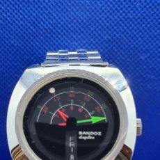 Relojes - Sandox: RELOJ CABALLERO (VINTAGE) SANDOZ. DÚPLEX AUTOMÁTICO MUY RARO EN ACERO CON DOBLE CALENDARIO LAS SEIS.. Lote 248700415