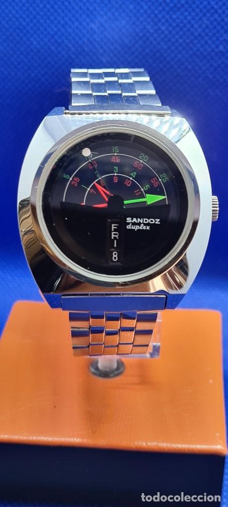 Relojes - Sandox: Reloj caballero (Vintage) SANDOZ. Dúplex automático muy raro en acero con doble calendario las seis. - Foto 4 - 248700415