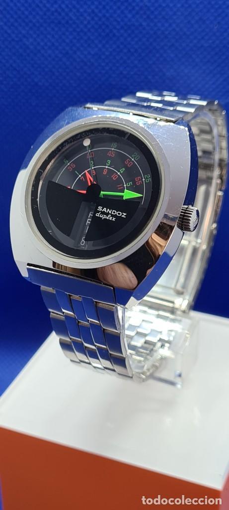 Relojes - Sandox: Reloj caballero (Vintage) SANDOZ. Dúplex automático muy raro en acero con doble calendario las seis. - Foto 5 - 248700415