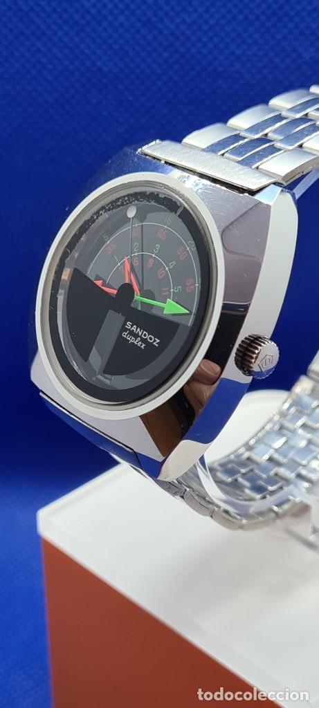 Relojes - Sandox: Reloj caballero (Vintage) SANDOZ. Dúplex automático muy raro en acero con doble calendario las seis. - Foto 8 - 248700415