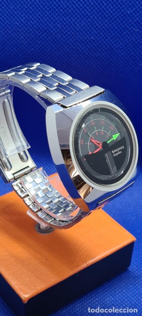 Relojes - Sandox: Reloj caballero (Vintage) SANDOZ. Dúplex automático muy raro en acero con doble calendario las seis. - Foto 13 - 248700415