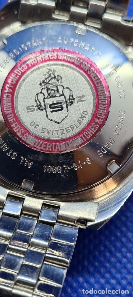 Relojes - Sandox: Reloj caballero (Vintage) SANDOZ. Dúplex automático muy raro en acero con doble calendario las seis. - Foto 16 - 248700415