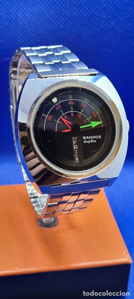 Relojes - Sandox: Reloj caballero (Vintage) SANDOZ. Dúplex automático muy raro en acero con doble calendario las seis. - Foto 18 - 248700415
