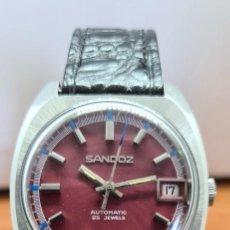 Relojes - Sandox: RELOJ CABALLERO (VINTAGE) SANDOZ AUTOMÁTICO EN ACERO, ESFERA COLOR VINO CALENDARIO A LAS TRES CORREA. Lote 253657950