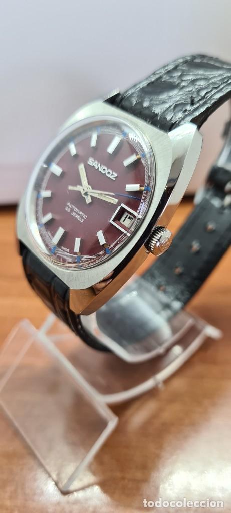 Relojes - Sandox: Reloj caballero (Vintage) SANDOZ automático en acero, esfera color vino calendario a las tres correa - Foto 4 - 253657950