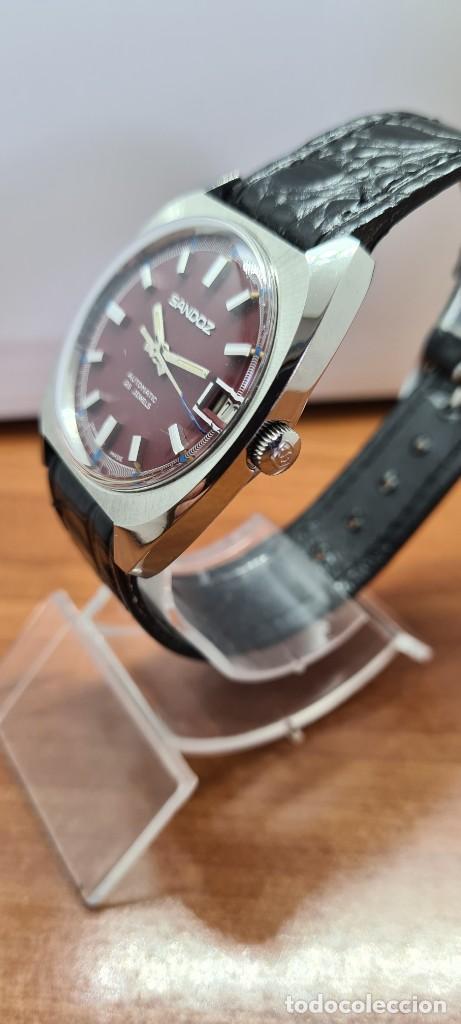 Relojes - Sandox: Reloj caballero (Vintage) SANDOZ automático en acero, esfera color vino calendario a las tres correa - Foto 6 - 253657950