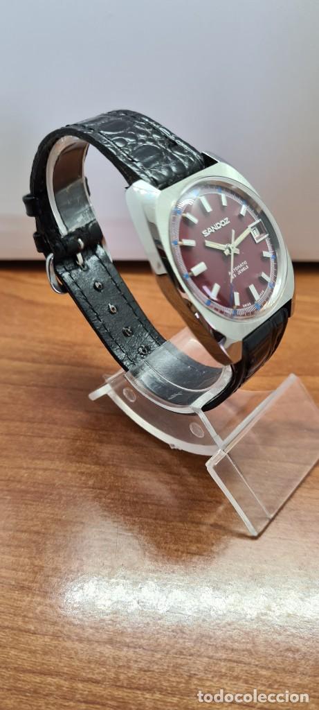 Relojes - Sandox: Reloj caballero (Vintage) SANDOZ automático en acero, esfera color vino calendario a las tres correa - Foto 7 - 253657950