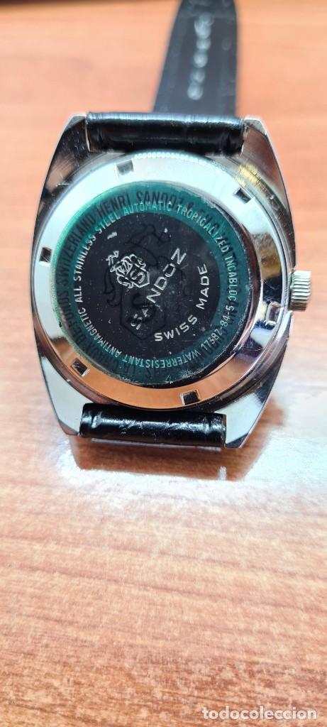 Relojes - Sandox: Reloj caballero (Vintage) SANDOZ automático en acero, esfera color vino calendario a las tres correa - Foto 9 - 253657950