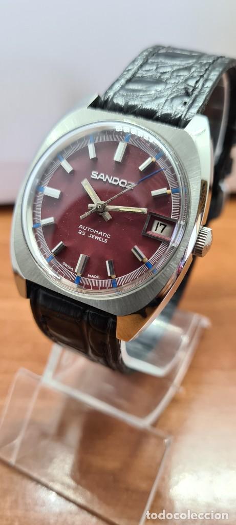 Relojes - Sandox: Reloj caballero (Vintage) SANDOZ automático en acero, esfera color vino calendario a las tres correa - Foto 10 - 253657950