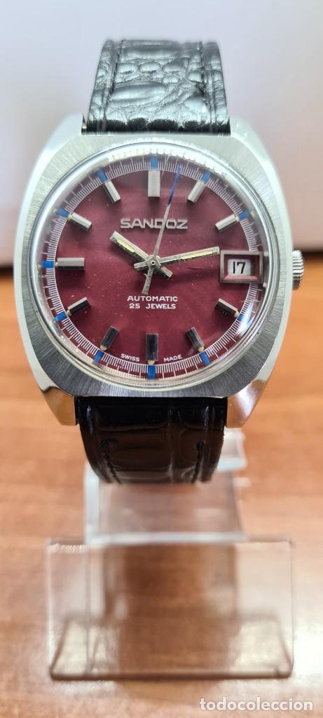 Relojes - Sandox: Reloj caballero (Vintage) SANDOZ automático en acero, esfera color vino calendario a las tres correa - Foto 12 - 253657950