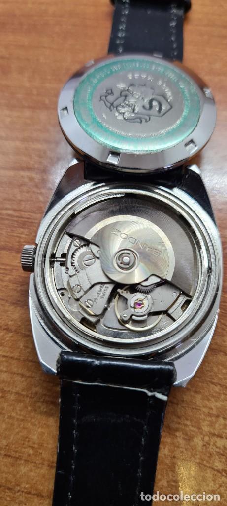 Relojes - Sandox: Reloj caballero (Vintage) SANDOZ automático en acero, esfera color vino calendario a las tres correa - Foto 14 - 253657950
