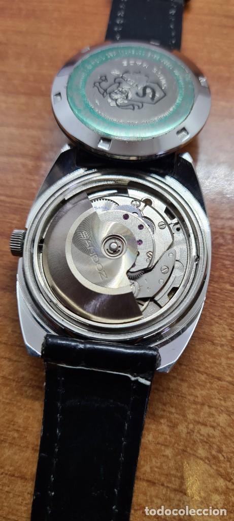 Relojes - Sandox: Reloj caballero (Vintage) SANDOZ automático en acero, esfera color vino calendario a las tres correa - Foto 16 - 253657950
