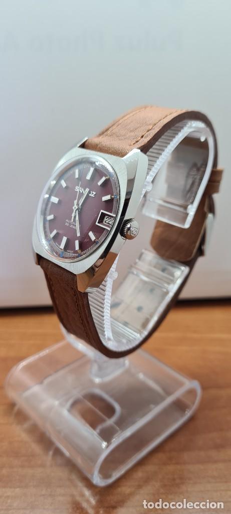 Relojes - Sandox: Reloj caballero (Vintage) SANDOZ automático en acero, esfera color vino calendario a las tres correa - Foto 3 - 255418630