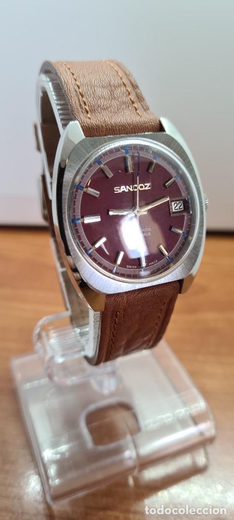 Relojes - Sandox: Reloj caballero (Vintage) SANDOZ automático en acero, esfera color vino calendario a las tres correa - Foto 4 - 255418630