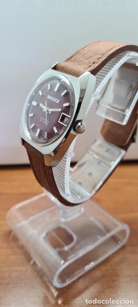 Relojes - Sandox: Reloj caballero (Vintage) SANDOZ automático en acero, esfera color vino calendario a las tres correa - Foto 7 - 255418630
