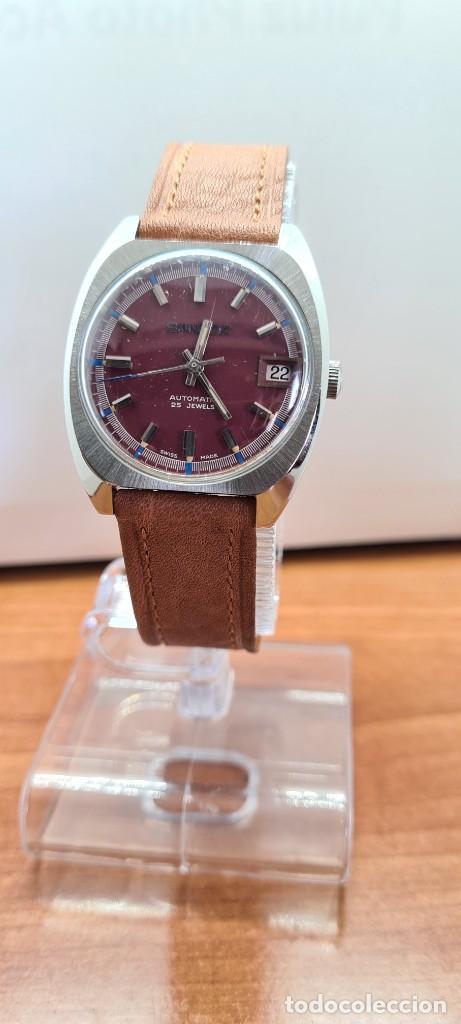 Relojes - Sandox: Reloj caballero (Vintage) SANDOZ automático en acero, esfera color vino calendario a las tres correa - Foto 10 - 255418630