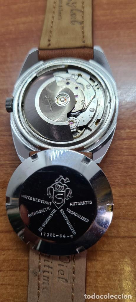 Relojes - Sandox: Reloj caballero (Vintage) SANDOZ automático en acero, esfera color vino calendario a las tres correa - Foto 11 - 255418630