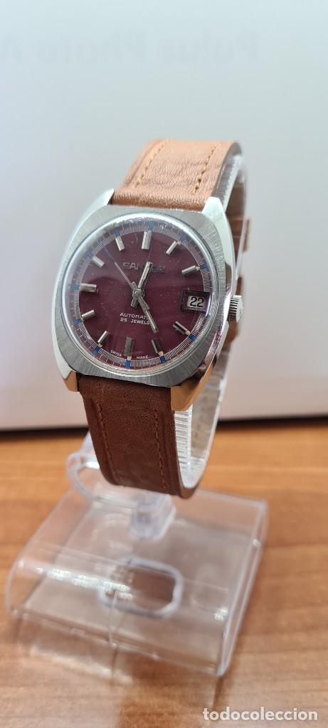 Relojes - Sandox: Reloj caballero (Vintage) SANDOZ automático en acero, esfera color vino calendario a las tres correa - Foto 12 - 255418630