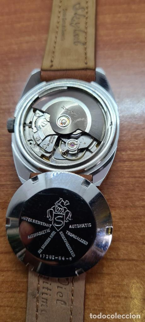 Relojes - Sandox: Reloj caballero (Vintage) SANDOZ automático en acero, esfera color vino calendario a las tres correa - Foto 14 - 255418630