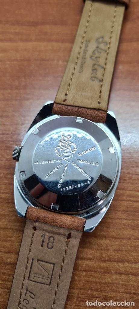Relojes - Sandox: Reloj caballero (Vintage) SANDOZ automático en acero, esfera color vino calendario a las tres correa - Foto 16 - 255418630
