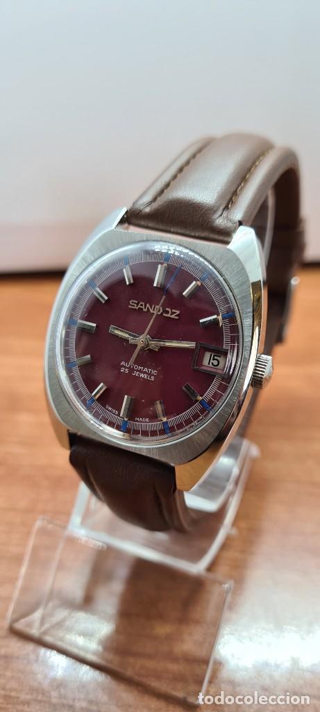 Relojes - Sandox: Reloj caballero (Vintage) SANDOZ automático en acero, esfera color vino calendario a las tres correa - Foto 2 - 255517455