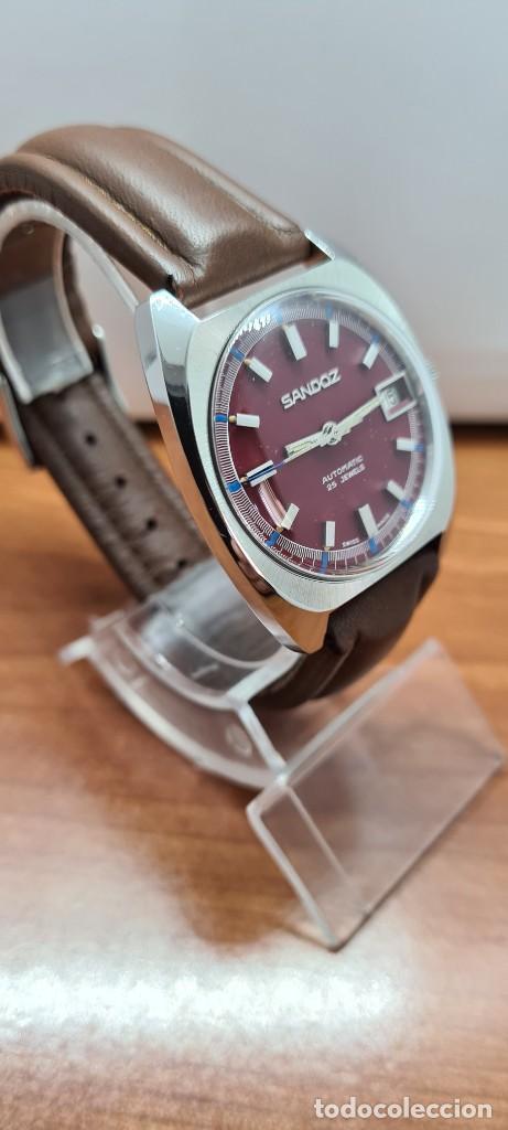 Relojes - Sandox: Reloj caballero (Vintage) SANDOZ automático en acero, esfera color vino calendario a las tres correa - Foto 3 - 255517455