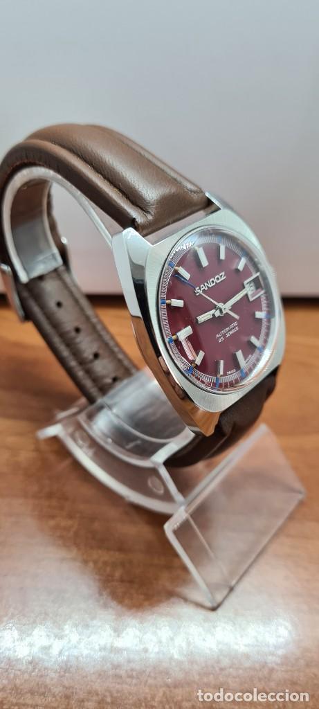 Relojes - Sandox: Reloj caballero (Vintage) SANDOZ automático en acero, esfera color vino calendario a las tres correa - Foto 5 - 255517455