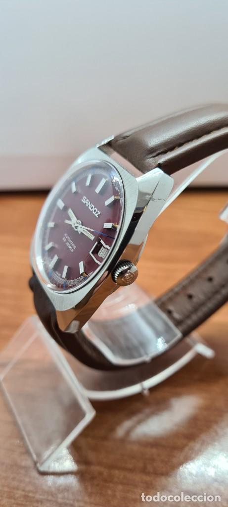 Relojes - Sandox: Reloj caballero (Vintage) SANDOZ automático en acero, esfera color vino calendario a las tres correa - Foto 6 - 255517455