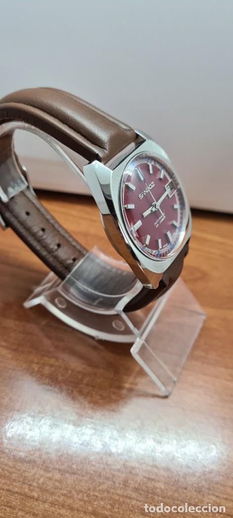 Relojes - Sandox: Reloj caballero (Vintage) SANDOZ automático en acero, esfera color vino calendario a las tres correa - Foto 7 - 255517455