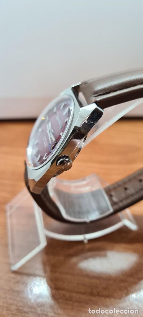 Relojes - Sandox: Reloj caballero (Vintage) SANDOZ automático en acero, esfera color vino calendario a las tres correa - Foto 8 - 255517455