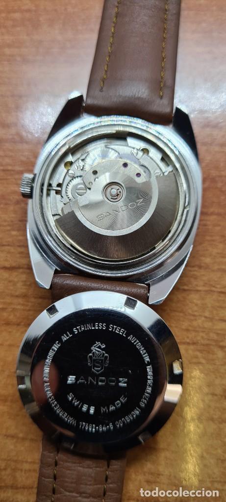 Relojes - Sandox: Reloj caballero (Vintage) SANDOZ automático en acero, esfera color vino calendario a las tres correa - Foto 9 - 255517455