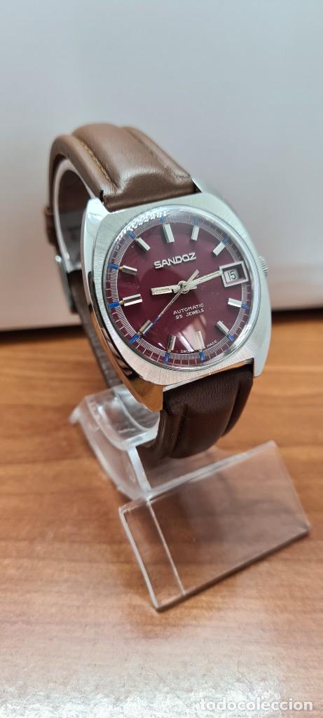 Relojes - Sandox: Reloj caballero (Vintage) SANDOZ automático en acero, esfera color vino calendario a las tres correa - Foto 10 - 255517455
