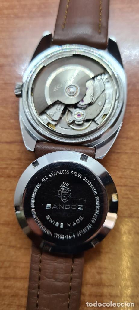 Relojes - Sandox: Reloj caballero (Vintage) SANDOZ automático en acero, esfera color vino calendario a las tres correa - Foto 14 - 255517455