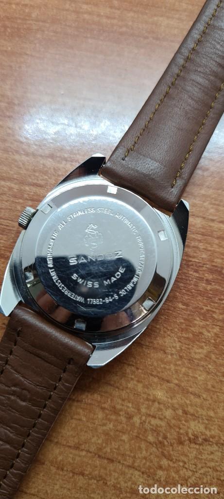 Relojes - Sandox: Reloj caballero (Vintage) SANDOZ automático en acero, esfera color vino calendario a las tres correa - Foto 17 - 255517455